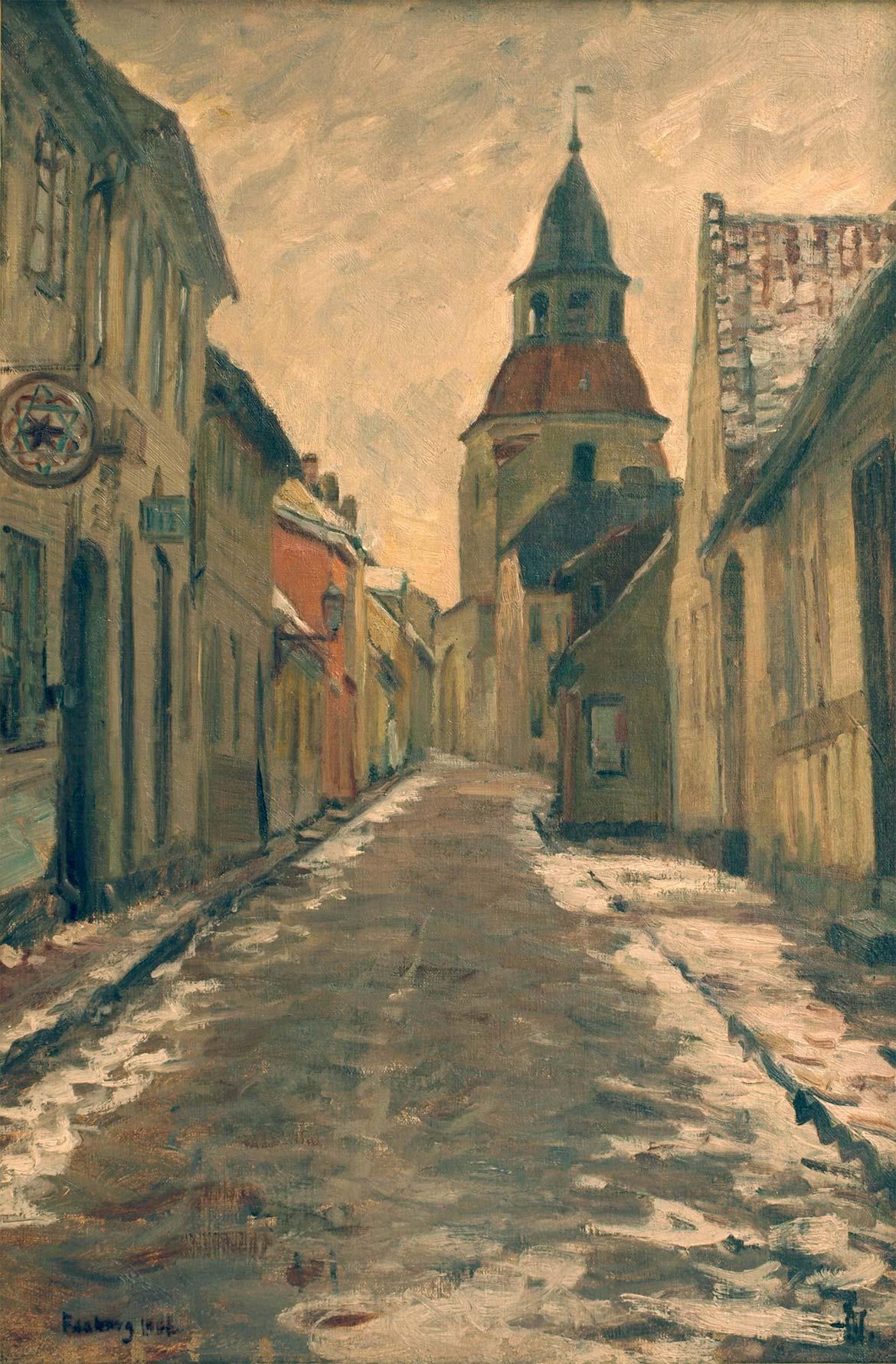 Albert Gottschalk, Gadeparti med Klokketårnet i Faaborg, 1901. Faaborg Museum.