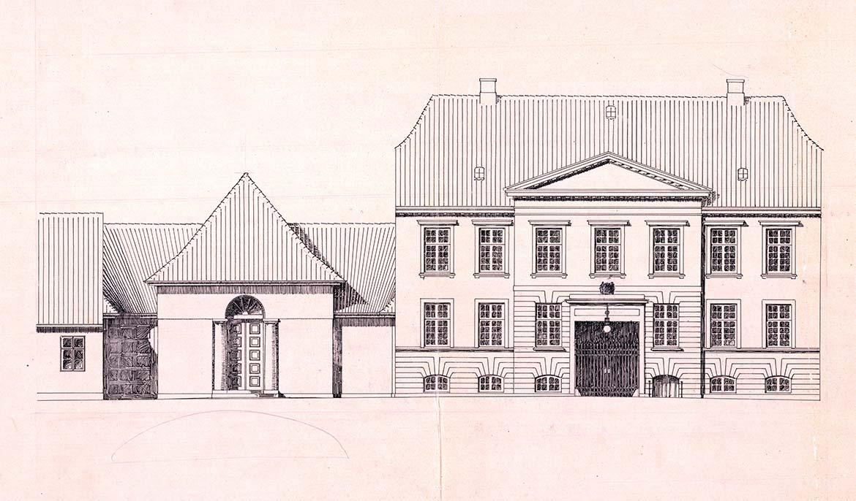 Carl Petersen, tegning af museets facade og Mads Rasmussens Konservesgård, 1912-15. Faaborg Museum.