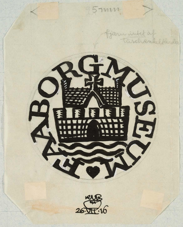 Knud V. Engelhardt, Faaborg Museums bomærke, tuschtegning, 1916. Designmuseum Danmark, København.