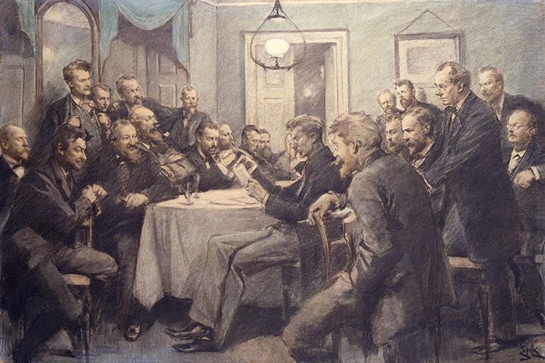 Erik Henningsen, Ein Treffen in der Wirklichkeit am 1. März 1882, 1910. Das Nationalhistorische Museum, Schloss Frederiksberg.