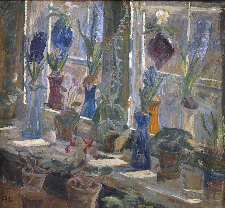 Alhed Larsen, Blomster i et vindue med solskin, 1903. Faaborg Museum.