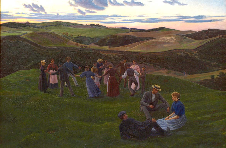 Fritz Syberg, Abendspiel im Svanninge Bakker, 1900. Faaborg Museum.