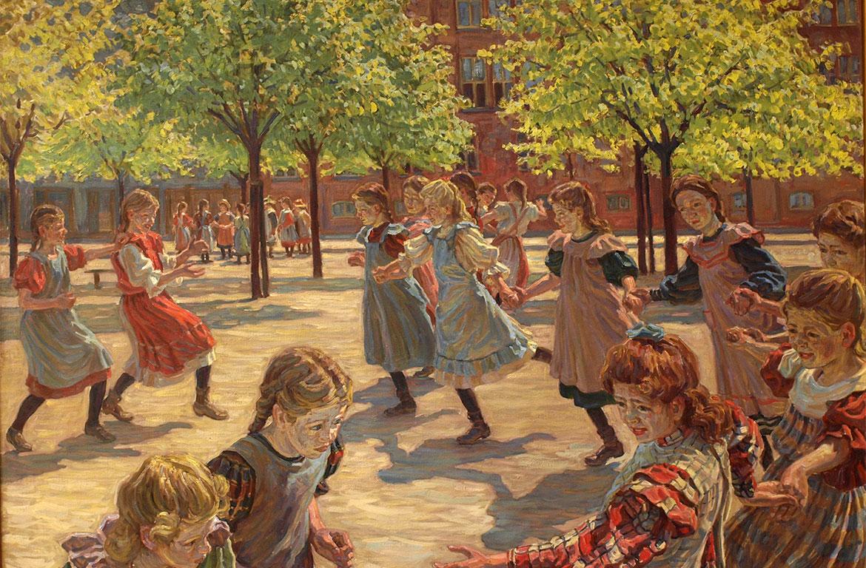 Peter Hansen, Legende børn på Enghave Plads, 1907-08. Faaborg Museum.