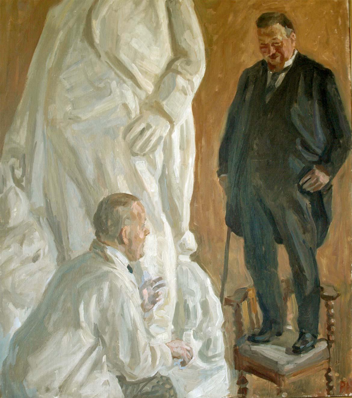 Peter Hansen, Kai Nielsen modellerer Mads Rasmussen, 1913. Faaborg Museum.