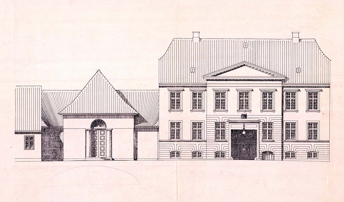 Carl Petersen, drawing for the museum building and of Mads Rasmussen's Konservesgård, 1912-15. Faaborg Museum.