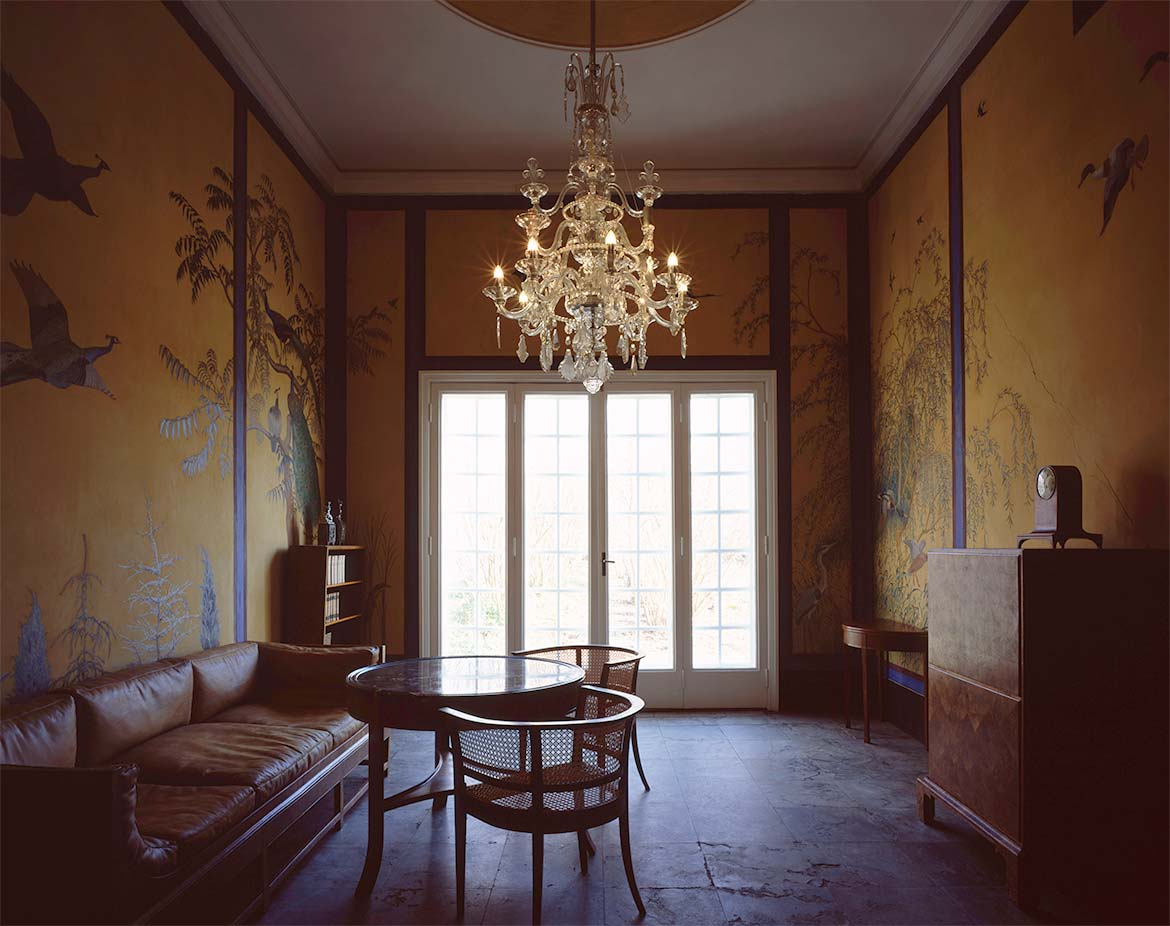Archive with furniture by Carl Petersen and Kaare Klint and wall paintings by Johannes Larsen.
