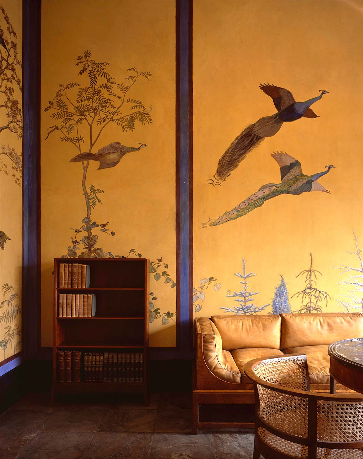 Archive with furniture by Carl Petersen and Kaare Klint and wall painting by Johannes Larsen.